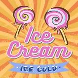 Cartel retro del helado Ejemplo moderno del vintage Fotos de archivo