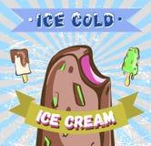 Cartel retro del helado Ejemplo moderno del vintage Foto de archivo
