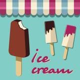 Cartel retro del helado Muestra del ejemplo del vintage Plantilla del fondo con el postre hecho en casa delicioso Imágenes de archivo libres de regalías