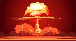 Cartel retro del hongo atómico de la explosión nuclear Imagenes de archivo