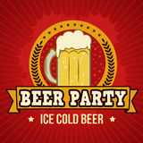 Cartel retro del partido de la cerveza Fotografía de archivo