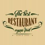 Cartel retro del restaurante del alimento biológico Foto de archivo