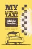 Cartel retro del taxi Foto de archivo