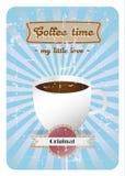 Cartel retro del tiempo del café Fotografía de archivo