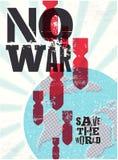 Cartel retro del vector ninguna guerra Ahorre el mundo Imagen de archivo