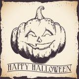 Cartel retro dibujado mano de la calabaza del feliz Halloween Imagenes de archivo