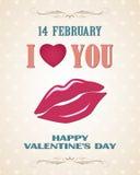 Cartel retro feliz del día de tarjetas del día de San Valentín con los labios Foto de archivo libre de regalías