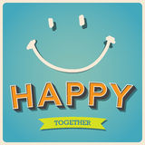 Cartel retro feliz y de la sonrisa de la cara Imagenes de archivo