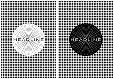 Cartel retro punteado blanco y negro Imagen de archivo libre de regalías
