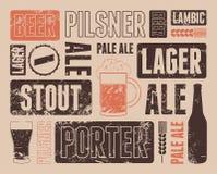 Cartel retro tipográfico de la cerveza del grunge Ilustración del vector Fotos de archivo