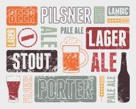 Cartel retro tipográfico de la cerveza del grunge Ilustración del vector Fotografía de archivo libre de regalías