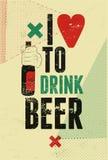 Cartel retro tipográfico de la cerveza del grunge Ilustración del vector Foto de archivo