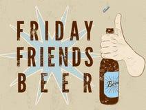 Cartel retro tipográfico de la cerveza del grunge La mano sostiene una botella de cerveza Ilustración del vector Imagen de archivo