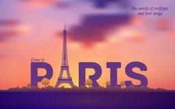 Cartel retro tipográfico del estilo de París Fotos de archivo