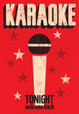 Cartel retro tipográfico del Karaoke del grunge Ilustración del vector Imagenes de archivo