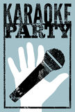 Cartel retro tipográfico del partido del Karaoke del grunge Ilustración del vector Imagen de archivo libre de regalías