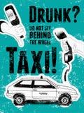 Cartel retro tipográfico del taxi del grunge Dé a controles una botella de cerveza vacía, controles de la mano un receptor de tel Fotos de archivo