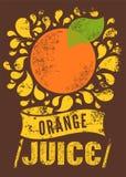 Cartel retro tipográfico del zumo de naranja del grunge Ilustración del vector Imagen de archivo