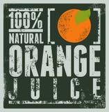 Cartel retro tipográfico del zumo de naranja del grunge Ilustración del vector Imagenes de archivo