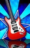 Cartel rojo de la guitarra de la roca de Birst de la estrella Fotografía de archivo libre de regalías