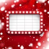 Cartel rojo de la Navidad con la muestra ligera y el marco blanco Imágenes de archivo libres de regalías