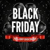 Cartel rojo de la tienda de la publicidad del vector de la cinta de los globos del promo del descuento de la venta de Black Frida Imagenes de archivo