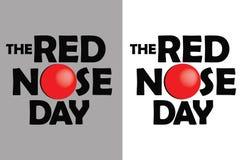 Cartel rojo del día de la nariz en fondo gris y blanco Fotografía de archivo libre de regalías
