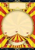 Cartel rojo y amarillo de la vendimia del circo Imagenes de archivo
