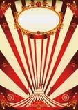 Cartel rojo y poner crema del vintage del circo Foto de archivo libre de regalías