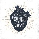 Cartel romántico con el corazón humano y las letras inspiradoras Fotografía de archivo libre de regalías