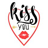 Cartel romántico con las letras de la mano y la impresión del lápiz labial Ejemplo para el día o casarse de las tarjetas del día  Fotos de archivo