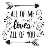 Cartel romántico de la tipografía sobre amor cotización Imagen de archivo