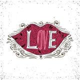 Cartel romántico dibujado mano de la tipografía Palabra preciosa - amor en silueta de los labios Ejemplo de las letras de la cali Fotografía de archivo libre de regalías