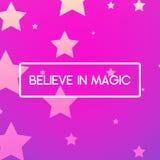 Cartel rosado mágico con las estrellas Foto de archivo libre de regalías