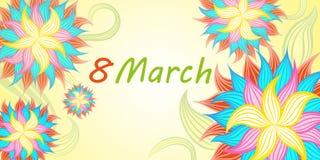 Cartel saludo floral mujeres s día del 8 de marzo feliz internacional Imagenes de archivo