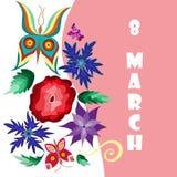 Cartel saludo floral mujeres s día del 8 de marzo feliz internacional Imagen de archivo