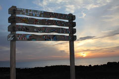 Cartel, Sign. Dawn by the sea on the island Royalty Free Stock Photography