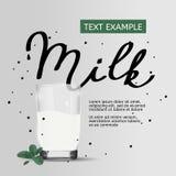 Cartel simple de la leche del vector Texto manuscrito Ejemplo sano de la forma de vida libre illustration
