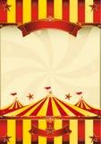 Cartel superior rojo y amarillo del circo Imágenes de archivo libres de regalías