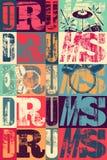 Cartel tipográfico del estilo del vintage de los tambores Ejemplo retro del vector del grunge Imagenes de archivo
