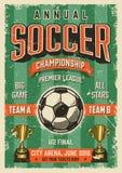 Cartel tipográfico del estilo del grunge del vintage del fútbol Fotografía de archivo