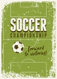 Cartel tipográfico del estilo del grunge del vintage del fútbol Ilustración retra del vector Imagen de archivo libre de regalías