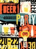 Cartel tipográfico del grunge del estilo del vintage del partido de la cerveza Ilustración retra del vector Foto de archivo