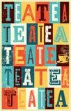 Cartel tipográfico del grunge del estilo del vintage del té Ilustración retra del vector Imagen de archivo libre de regalías