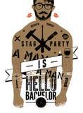 ¡Cartel tipográfico para el soltero del partido de macho hola! con el cuerpo tatuado de un hombre Ilustración del vector Imagen de archivo