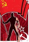 Cartel URSS del portador de bandera stock de ilustración