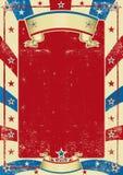 Cartel usado americano con el marco rojo Foto de archivo libre de regalías