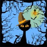 cartel Víspera de Todos los Santos El gato en el sombrero stock de ilustración