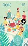 Cartel vertical de la publicidad en un tema de la comida campestre El ejemplo con la gente de moda joven, amigos, se relaja al ai Foto de archivo