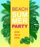 Cartel vertical del partido del verano del vector con las hojas tropicales stock de ilustración